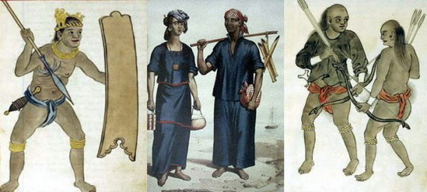 Some of the ethnic groups in Luzon during the Spanish colonial era: Cagayan Warrior (Boxer Codex), Kapampangan Peasants (Jean Mallat) and Sambal Warriiors (Boxer Codex).