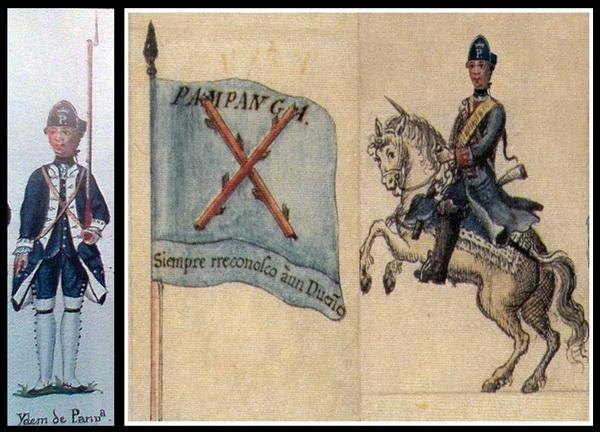 "Pampanga Dragoon & Militia who fought against the British in 1762-64. The motto on the flag reads: ""Siempre rreconosco àun Dueño (Siempre reconozco àun Dueño)"" ""I always recognize my master/owner""."